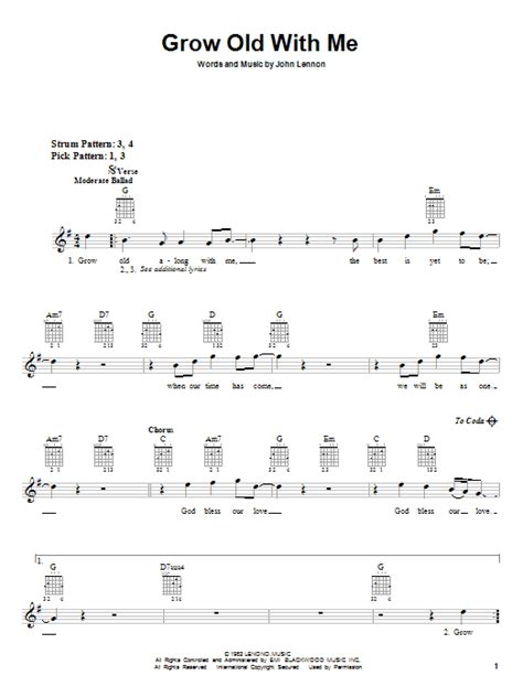 strumming pattern hear you me grow old with me sheet music by john lennon guitar with