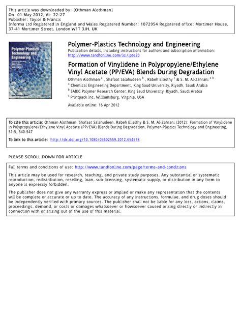 Which Is Better Ethylene Vinyl Acetate Vs Polypropylene - pdf formation of vinylidene in polypropylene ethylene