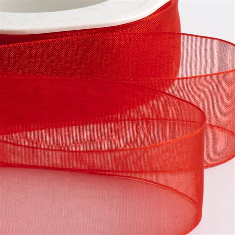 Red Organza Ribbon with Woven Edge at Favour This
