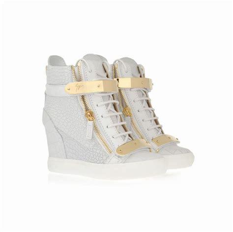 giuseppe zanotti croc wedge sneakers in white 10059