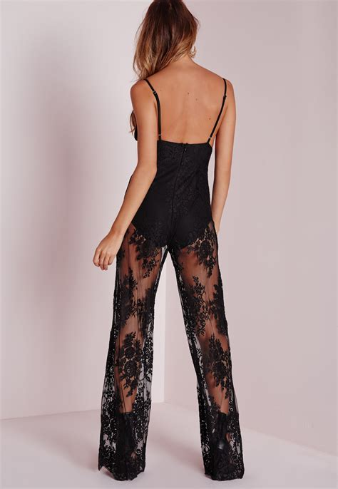 Sheer Lace Jumpsuit missguided sheer lace knicker insert jumpsuit black in