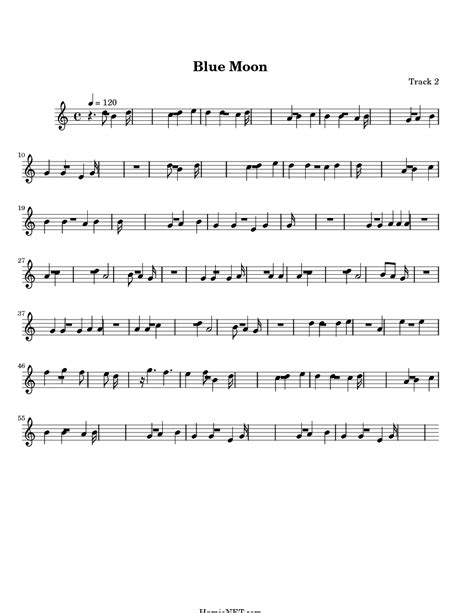 Blue Moon Sheet Music - Blue Moon Score • HamieNET.com