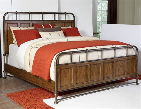 new vintage king metal and wood bedstead by broyhill