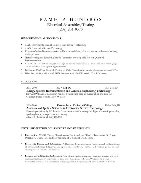 updated electrical assembler resume