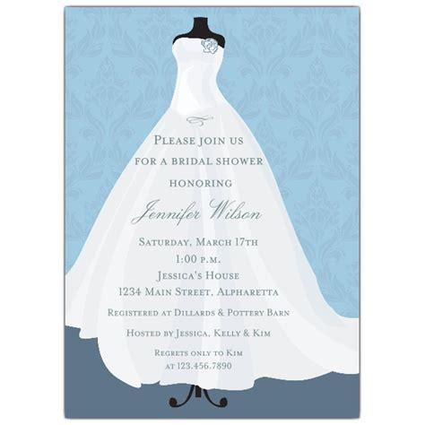 Blue Bridal Shower by Flowing Bridal Gown Blue Bridal Shower Invitations
