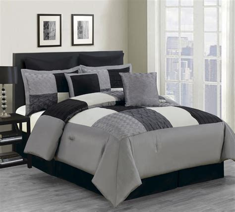 8 piece queen carson comforter set black gray ebay