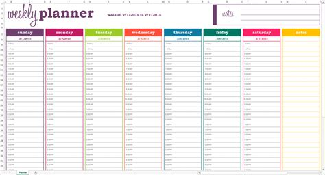 weekly planner template basic weekly planner excel template savvy spreadsheets