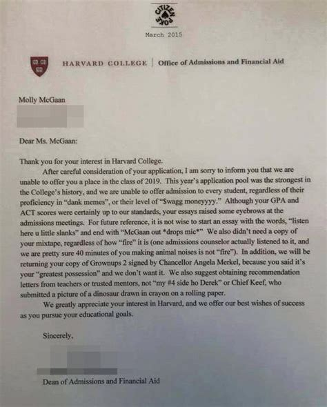 Harvard Rejection Letter Mixtape This Is Why You Should Not Use Words Like Swag And Kewl When You Apply To Harvard