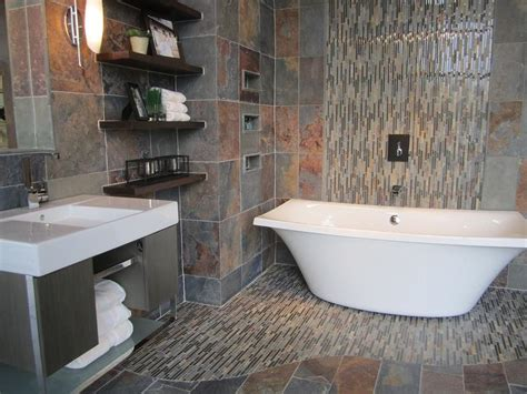 Bathroom Slate Tile Ideas Slate Bathroom With Slate And Glass Mosaic Freestanding Kohler Tub Wall Hung Vanity Dreamy