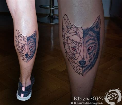 geometric tattoo raleigh half geometric wolf tattoo by blaze www facebook com