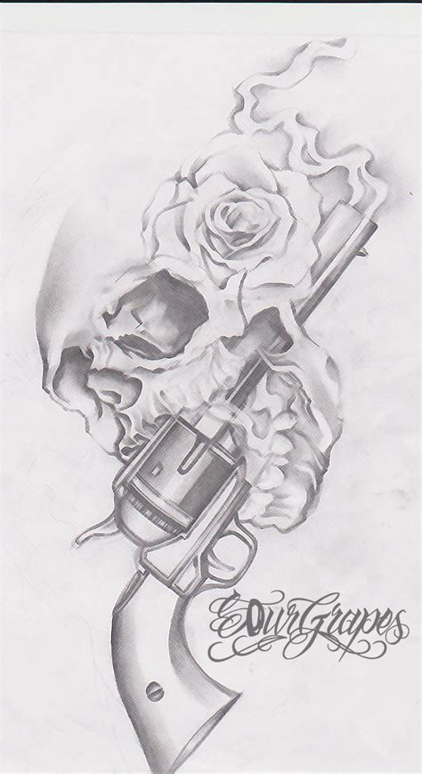 skull gun n roses tattoo design real photo pictures