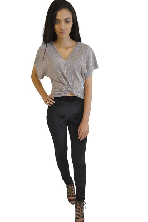 Squeeze Front Top 1 pleated knot front top silver