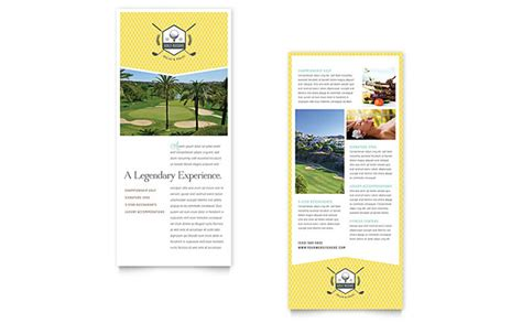 rack card template golf resort rack card template word publisher