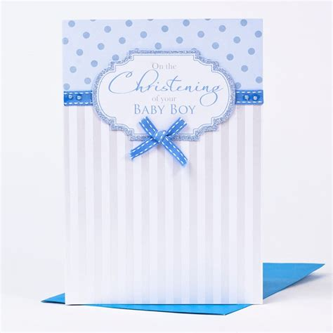Card Factory Christening Gifts - christening card baby boy ribbon appliqu 233 only 79p