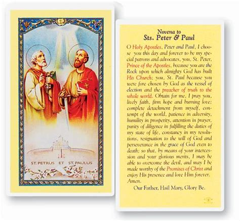 clear sts for card novena to sts and paul holy card