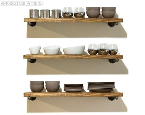 set of 3 industrial floating shelves 10 depth by