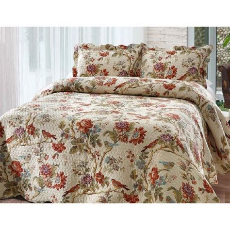 Quilts Coverlets Gdc Home by Quilt Set Size Bedding Reversible Floral Scalloped