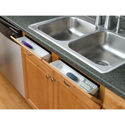Kitchen Sink Tray Rev A Shelf 3 813 In H X 11 In W X 2 125 In D White Polymer Tip Out Sink Front Trays And
