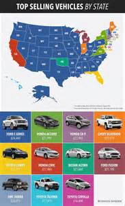 best selling car in every state map business insider