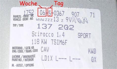 Vw Motorcode Aufkleber by Fahrgestellnummer Des Vw Golf Entschl 252 Sseln
