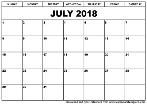 2018 calendar template pdf july 2018 calendar pdf monthly calendar template