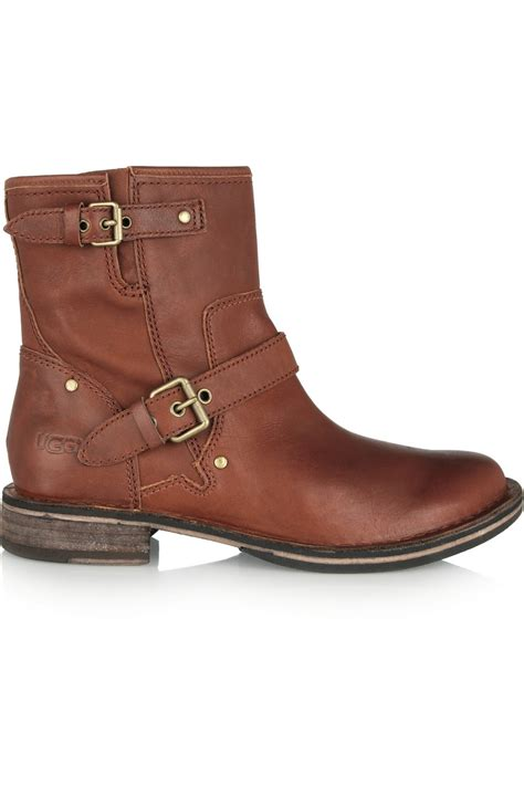 brown leather ugg boots ugg fabrizia leather ankle boots in brown lyst