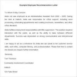 template for letter of recommendation from employer 20 employee recommendation letter templates hr template