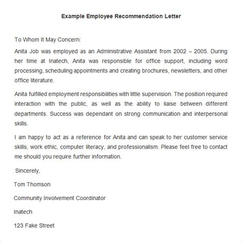 employee recommendation letter 18 employee recommendation letter templates hr template