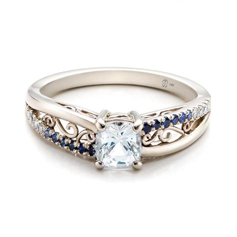 custom blue and white sapphire engagement ring 101211