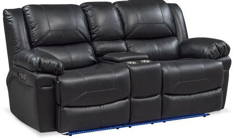Power Reclining Sofa Set Monza Dual Power Reclining Sofa And Reclining Loveseat Set Black American Signature Furniture