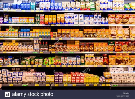 Food That Has A Shelf by Shelf With Food In A Supermarket Sugar Baking Products