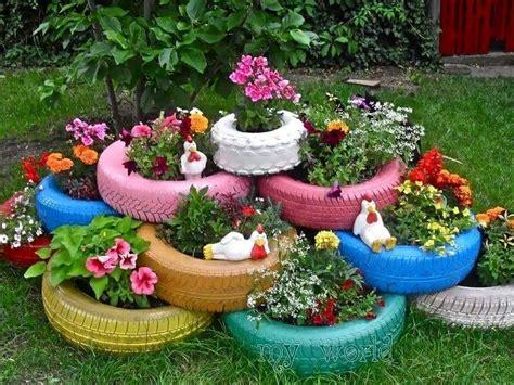 painted tire planters gardening pinterest