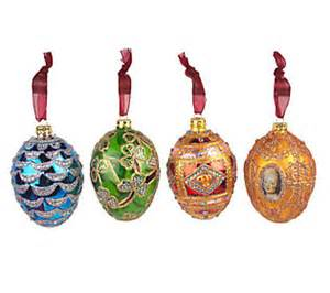 joan rivers set of 4 fabergeinspired christmas ornaments