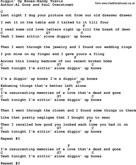 randy lyrics lock me up country diggin up bones randy travis lyrics and chords