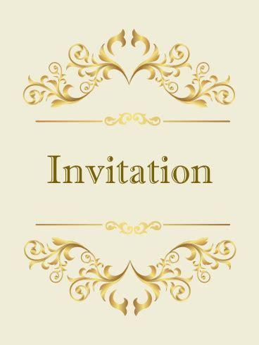 Classic Golden Invitation Card   Birthday & Greeting Cards