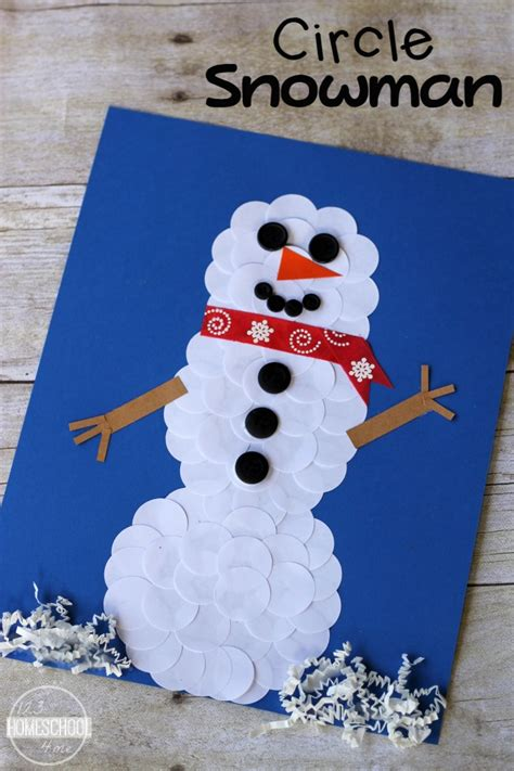 january craft projects circle snowman winter craft