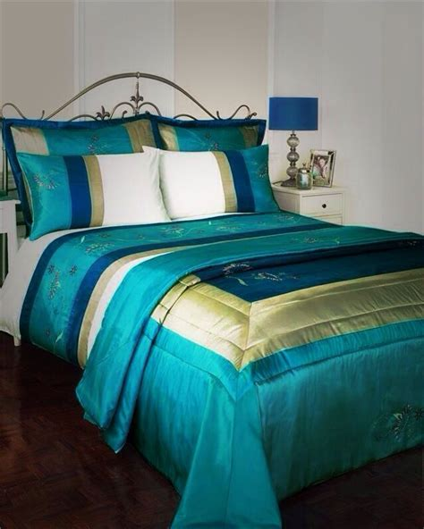 living ribbon patchwork embroidered duvet cover setkingsize details about turquoise teal bed set king size duvet cover quilted bedspread throw for the