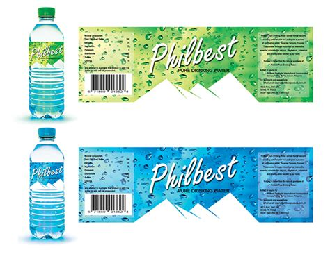 design bottle label online philbest pure water bottle label design on behance