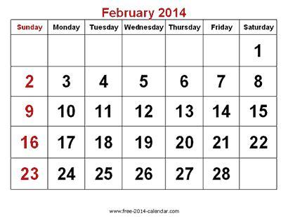 Calendar February 2014 February 2014 Calendar Printable 7 Printable Calendar