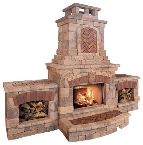 tuscany fireplace and wood boxes contemporary outdoor