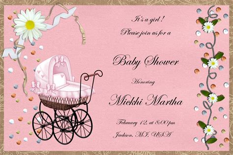 Baby Shower Invitation For A Girl   Baby Shower DIY