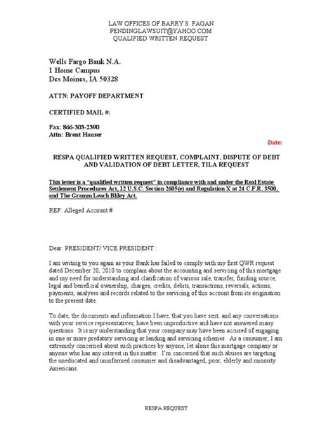 Non Dispute Letter Sle Qualified Written Request Qwr Respa Dispute Of Debt Validation Of Debt Letter Tila