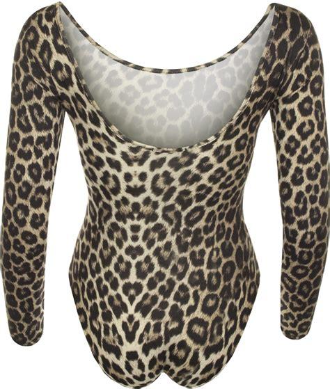 animal print bodysuit womens leopard sleeve stretch leotard top 8 14 ebay