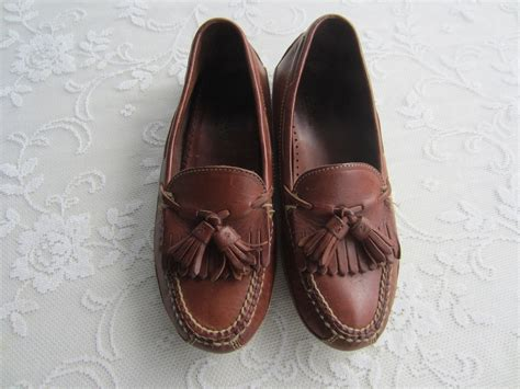 vintage tassel loafers vintage brown leather tassel loafers s by
