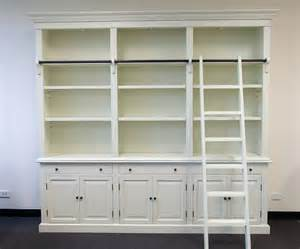 Library Style Bookcase With Ladder 3 Bay Provincial Style Library Bookcase With Ladder 255cm From Ezysales Au