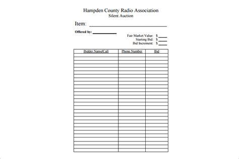 silent auction bid sheet pdf pauls benefit pinterest auction