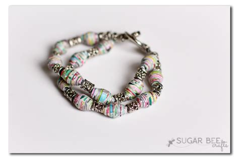 How To Make A Paper Bead Bracelet - rolled paper crafts tutorial