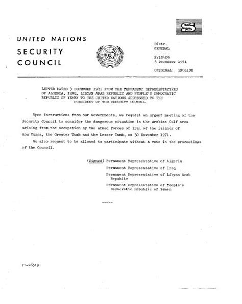 Recommendation Letter United Nations File Un Doc S 10409 Letter Dated 3 December 1971 From The Permanent Representatives Of Algeria