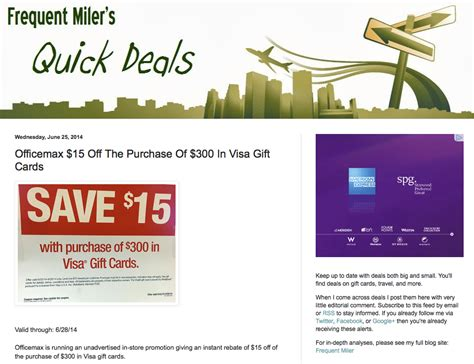 15 Visa Gift Card - save 15 off when you buy 300 in visa gift cards at officemax million mile secrets