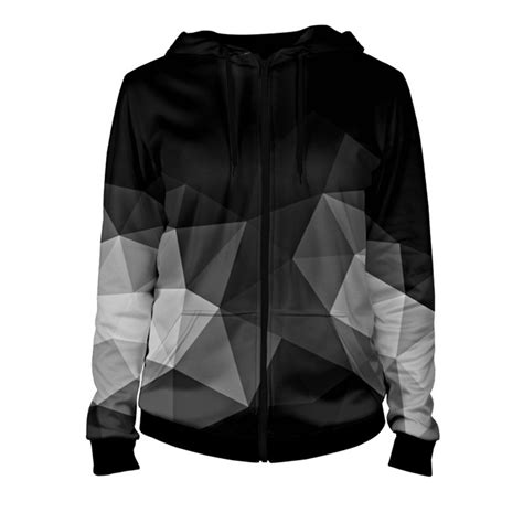 Zipper Hoodie Polygon Zero Clothing printed cool s hoodie with zipper geometry quantum boutique terrific selection